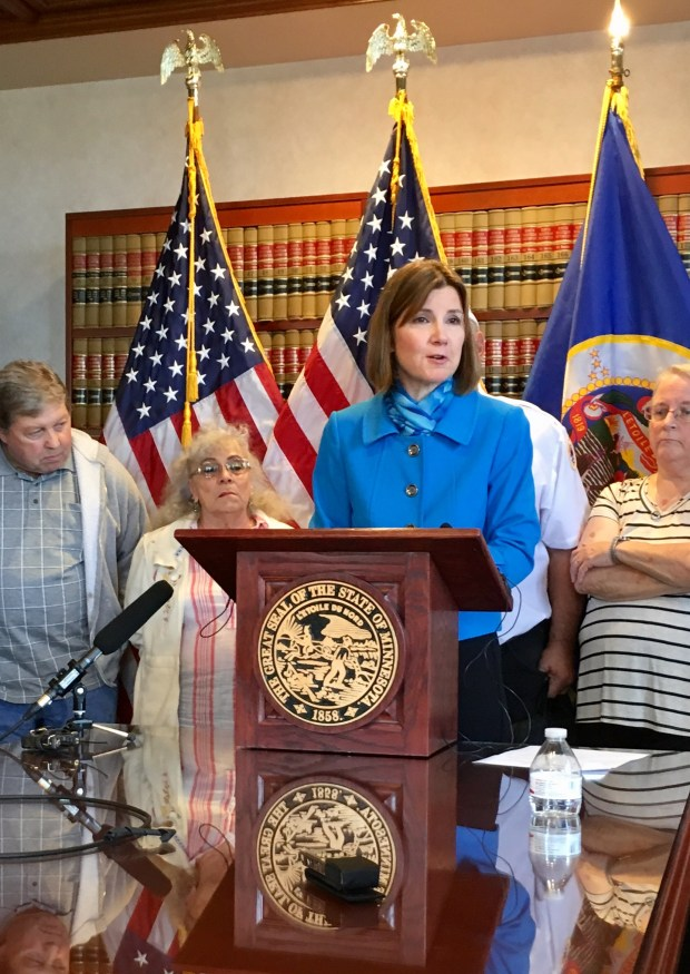 Attorney General Lori Swanson announced a lawsuit against two companies for allegedly bilking money from seniors and veterans. The lawsuit was filed against Future Income Payments, Deleware, and FIP, Nevada on August 16, 2017. (S. M. Chavey / Pioneer Press)