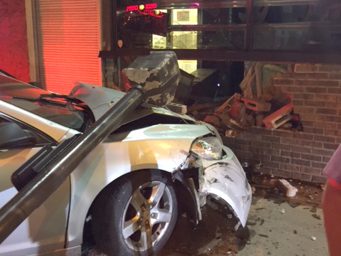 A car crashed into beloved North End pizzaria Mama's Pizza the evening of Tuesday, Aug. 15, 2017. Restaurant owner Tony Mudzinski hopes to reopen in a week or two. (Courtesy of Tony Mudzinski)