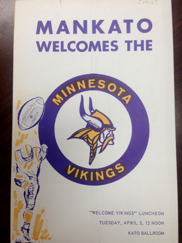 A welcome program from 1966 Minnesota Vikings football training camp in Mankato, Minn. After 52 years there, 2017 will be the team's last year of holding training camp in Mankato. In 2018, they plan to hold training camp at the team's new facility being built in Eagan. (Courtesy of the University Archives at Minnesota State University, Mankato)