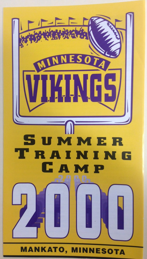 A 2000 program from the Minnesota Vikings football training camp in Mankato, Minn. After 52 years there, 2017 will be the team's last year of holding training camp in Mankato. In 2018, they plan to hold training camp at the team's new facility being built in Eagan. (Courtesy of the University Archives at Minnesota State University, Mankato)