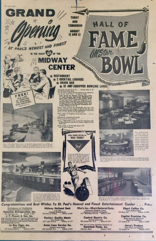 A newspaper ad announcing the opening of what would become Midway Pro Bowl.
