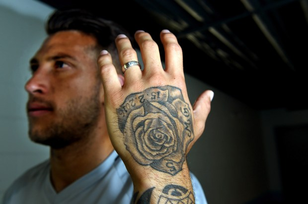 Minnesota United defender Francisco Calvo has a rose tattoo on his left hand to honor he and his wife Mariana's twin daughters, Galilea and Miranda, who passed away in a miscarriage last year. The tattoo includes the babies' initials, his No. 5 jersey number and the date of their passing, Feb. 15, 2016. (Jean Pieri / Pioneer Press)