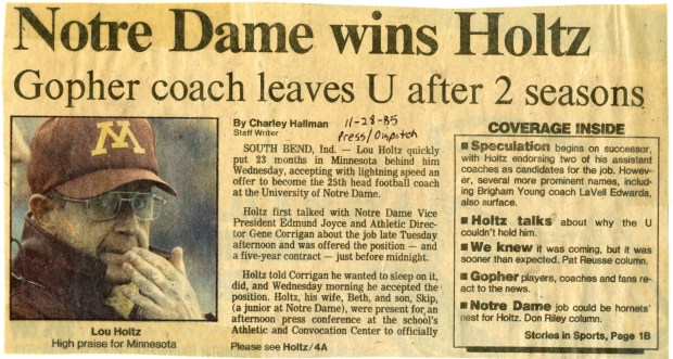 The St. Paul Pioneer Press story on Lou Holtz's move from Minnesota to Notre Dame after the 1985 season.