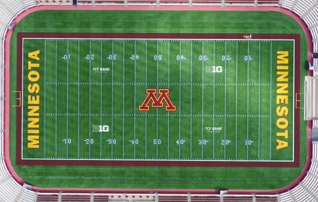 A rendering of TCF Bank Stadium featuring the new TCF naming marks on the field. (Courtesy of the University of Minnesota)
