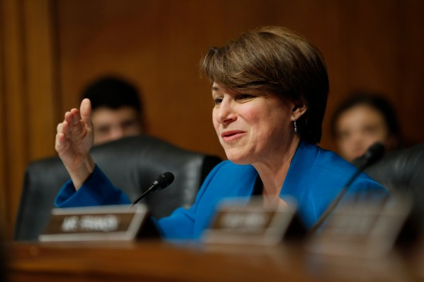 Senate Judiciary Committee member Sen. Amy Klobuchar, D-Minn. questions FBI Director nominee Christopher Wray on Capitol Hill in Washington, Wednesday, July 12, 2017, during the committee's confirmation hearing for Wray. (AP Photo/Pablo Martinez Monsivais)
