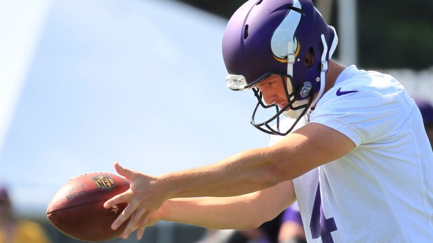 Minnesota Vikings punter Ryan Quigley practices his drop during training camp Thursday, July 27, 2017, in Mankato, Minn. (Andy Clayton-King / Associated Press)