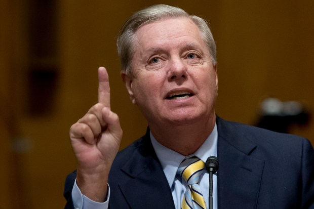 Sen. Lindsey Graham, R-S.C. speaks during a Senate Finance Committee hearing to consider the Graham-Cassidy healthcare proposal, on Capitol Hill, Monday, Sept. 25, 2017, in Washington. (AP Photo/Andrew Harnik)