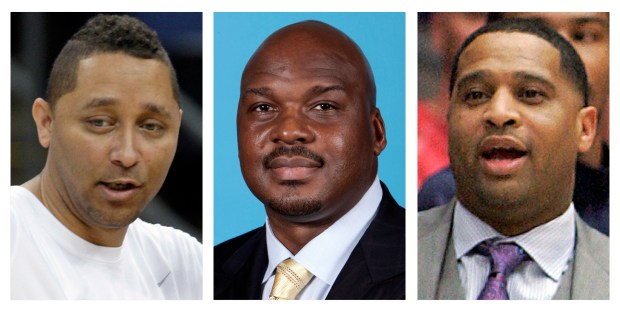 These file photos show, assistant basketball coaches Tony Bland, left, Chuck Person, center, and Lamont Richardson. The three, along with assistant coach Lamont Evans of Oklahoma State, were identified in court papers and are among 10 people facing federal charges in Manhattan federal court, Tuesday, Sept. 26, 2017, in a wide probe of fraud and corruption in the NCAA, authorities said. (AP Photo/File)