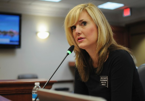 In this Jan. 28, 2016 photo, South Dakota Republican state Rep. Lynne DiSanto testifies in a state House committee at the Capitol in Pierre, S.D. DiSanto has apologized for a Facebook post where she shared a meme Sept. 7, 2017, depicting protesters being hit by a vehicle. It was posted less than a month after a driver rammed through counter-protesters at a white nationalist rally in Charlottesville, Va., killing a woman. (AP Photo/James Nord)