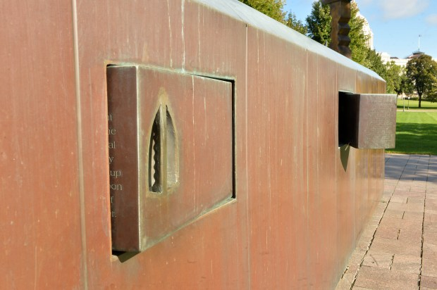 At the Roy Wilkins Memorial on John Ireland Boulevard, vandals have damaged moveable doors which now pose hazards to viewers' hands. ( Scott Takushi: Pioneer Press)