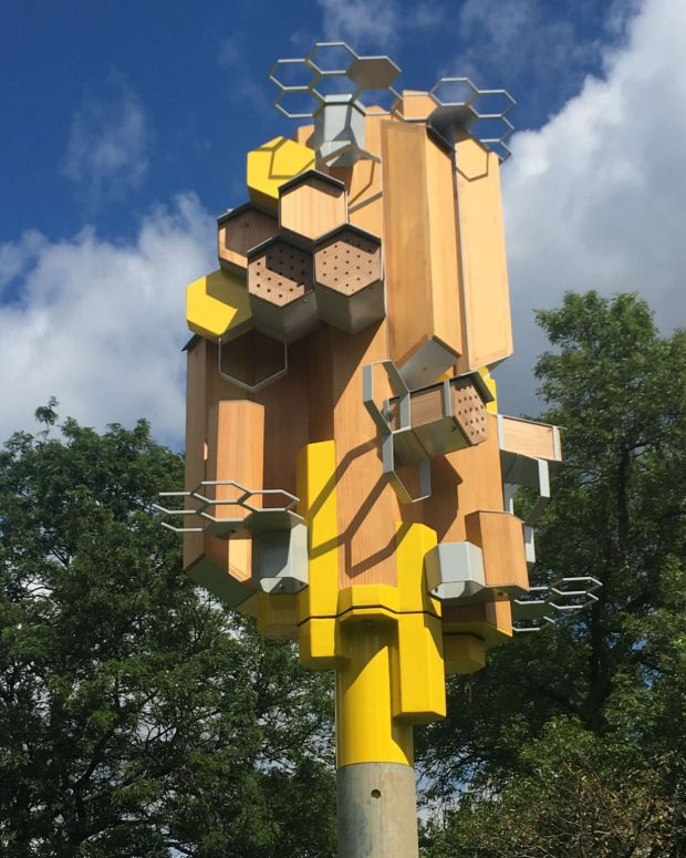 """Public Art St. Paul will unveil its first pollinator """"sky rise"""" near the Como Lake walking trails at West Como Boulevard, Nagasaki Road and Horton Avenue at 10 a.m. Wednesday, Sept. 13, 2017, as part of the nonprofit's """"Bee Real Bee Everywhere"""" initiative. (Courtesy of Public Art St. Paul)"""