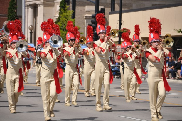 The Henry Sibley High School marching band performs in a parade in Alexandria in June 2017. Courtesy of the West St. Paul-Mendota Heights-Eagan school district.