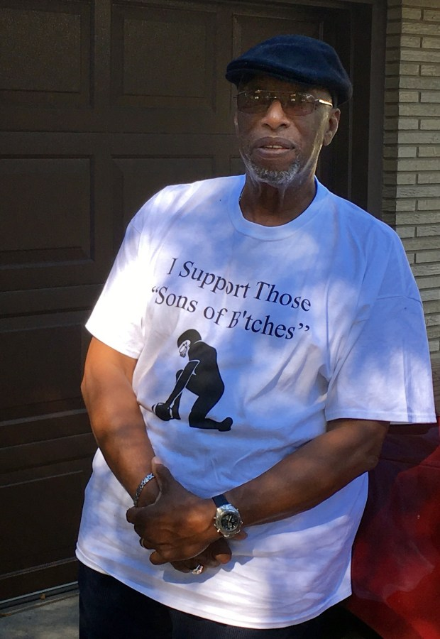 Rev. Oliver White of White Bear Lake was invited to speak on the Sean Hannity show on Thursday, Sept. 28, 2017, about the NFL #takeaknee controversy. He had this shirt specially made for his appearance, but at the last minute, he was told not wear it and he had to turn it inside out. (S. M. Chavey / Pioneer Press)