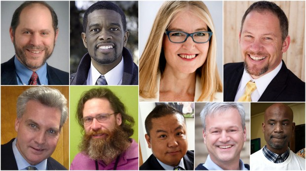 St. Paul mayoral candidates, from top left, Tom Goldstein, Melvin Carter III, Elizabeth Dickinson, Chris Holbrook and (bottom) Tim Holden, Barnabas Y'Shua, Dai Thao, Pat Harris and Trahern Crews. Not shown, Sharon Anderson. (Courtesy photos)
