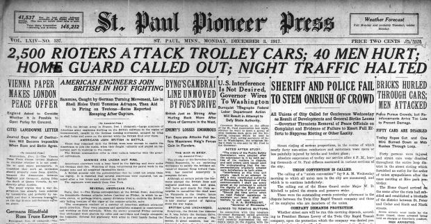 Front page of the Pioneer Press, Dec. 3, 1917.