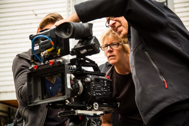 "USE THIS ONE PLEASE -- Director Gayle Knutson, center, checks camera framing on set during the filming of ""The Wagon"" in Marine on St. Croix on Tuesday, Sept. 12, 2017. Knutson is producing and directing the short film, currently filming in the Marine on St. Croix area. It will premiere in Minnesota in early 2018. (Courtesy of Monte Swann)"