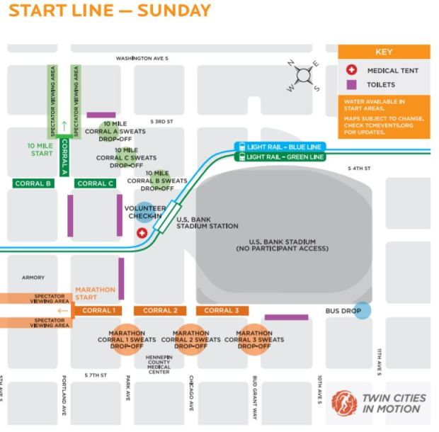 Map of the Twin Cities Marathon start line