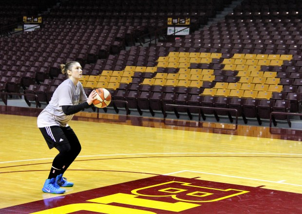 Back at Williams Arena, Gophers alum Lindsay Whalen shoots free throws after Lynx practice on Monday, Sept. 11, 2017. The Lynx will face the Washington Mystics at Williams Arena in Minneapolis Tuesday, Sept. 12, 2017 in the first game of a best-of-five semifinal series. (Jace Frederick / Pioneer Press)