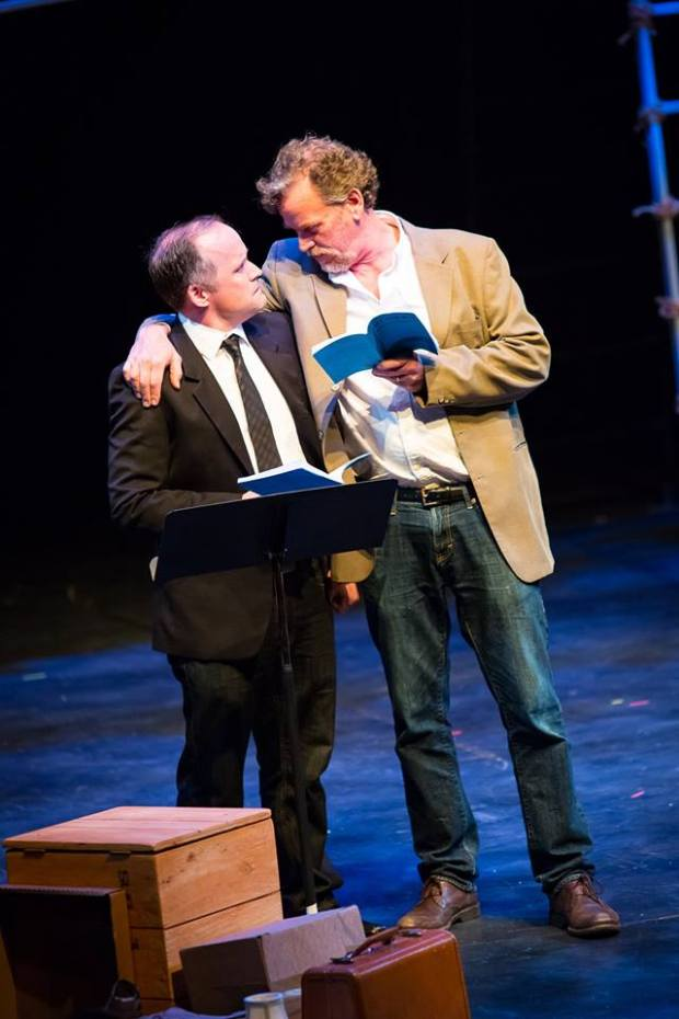 """Andrew Erskine Wheeler (left) and Pearce Bunting participated in a reading of an """"All the Way"""" scene when History Theatre announced its season last spring. They'll play Humbert H. Humphrey and LBJ in the play's run. (History Theatre)"""