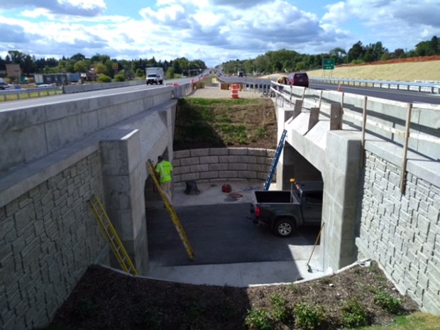A median opening allows natural light for the new Minnesota 110 bike-pedestrian tunnel in Mendota Heights. A ribbon-cutting ceremony will be held Oct. 27, 2017.(Courtesy of Dakota County)