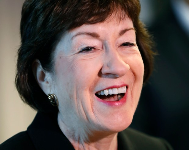 In this Sept. 29, 2017, photo, Sen. Susan Collins, R-Maine, speaks at a news conference at Bath Iron Works in Bath, Maine. Collins said she will decide during the Columbus Day recess whether to stay in the U.S. Senate or again run for governor in Maine. (AP Photo/Robert F. Bukaty)