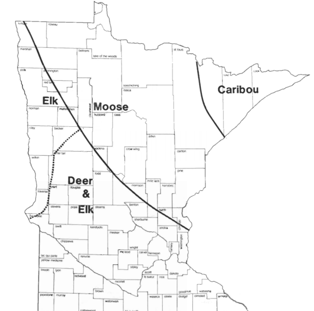 A map shows the ranges of deer, elk, moose and caribou in Minnesota before European settlement. (Courtesy Minnesota Department of Natural Resources)