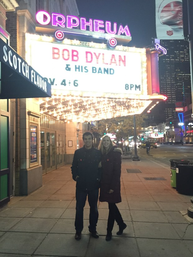 Matt and Jennifer Steichen saw Dylan perform three nights in a row at the Orpheum Theatre in Minneapolis in November 2015. (Photo courtesy Matt and Jennifer Steichen)