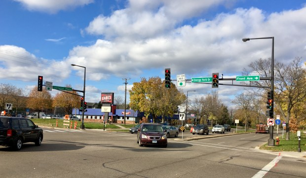 The intersection between Lexington Avenue North and Front Avenue had five injuries from 2011 to 2015 between motor vehicles and pedestrians or bicyclists. (S. M. Chavey / Pioneer Press)