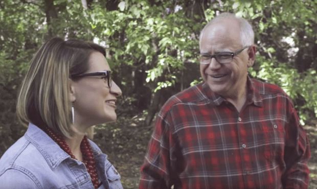U.S. Rep. Tim Walz with state Rep. Peggy Flanagan in a campaign video announcing she would be his running mate in his 2018 campaign for governor (screenshot, Pioneer Press)