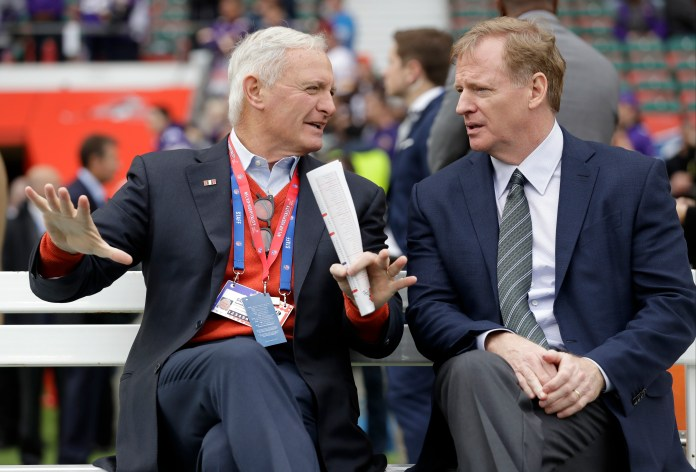 Cleveland Browns owner Jimmy Haslam, left, speaks to NFL Commissioner Roger Goodell before an NFL football game between the Cleveland Browns and the Minnesota Vikings at Twickenham Stadium in London, Sunday Oct. 29, 2017. (AP Photo/Matt Dunham)