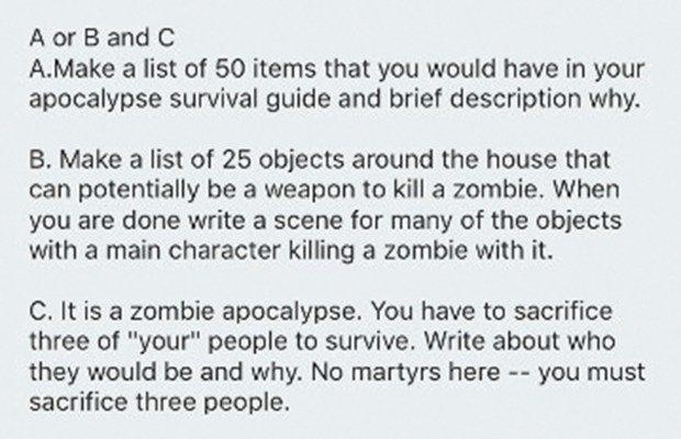 how to write a zombie apocalypse