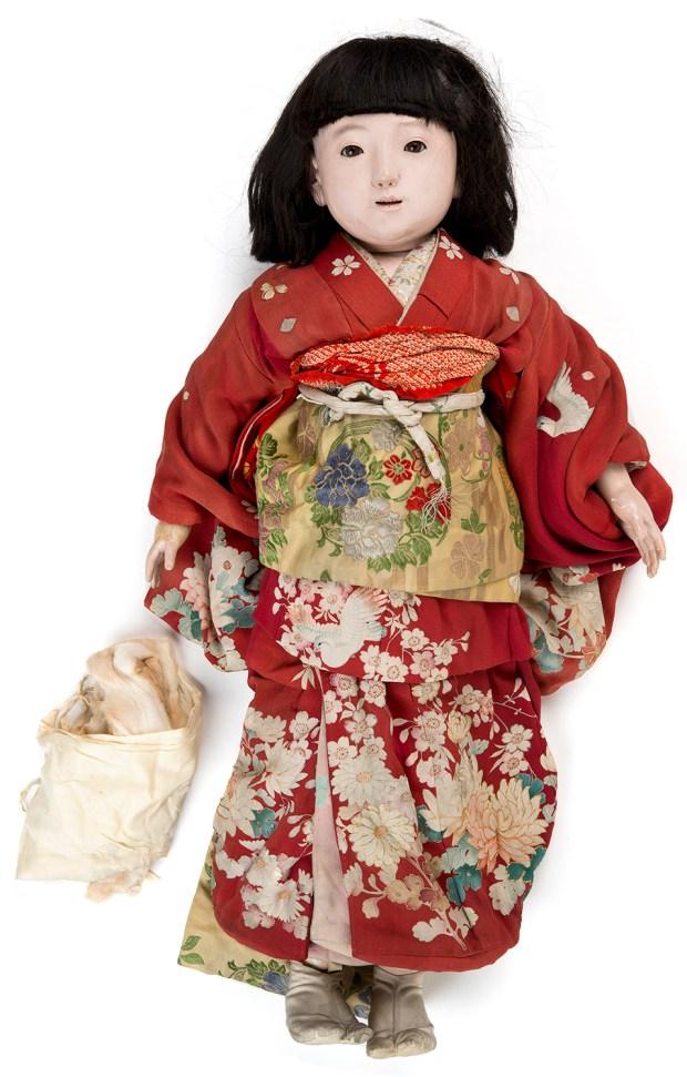 Miss Miyazaki, a Japanese friendship doll, before her restoration. (Courtesy of Minnesota History Center)