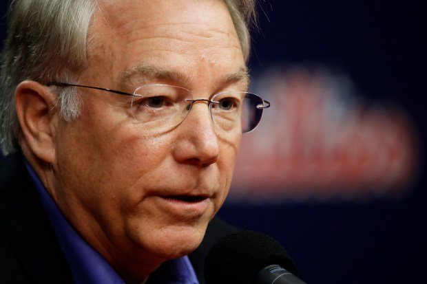 Philadelphia Phillies president Andy MacPhail speaks with members of the media during a news conference in Philadelphia, Tuesday, Oct. 3, 2017. (AP Photo/Matt Rourke)