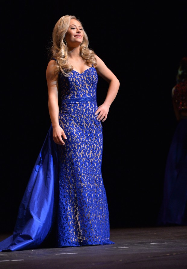 Mikayla Holmgren wears a royal-blue evening gown during the Miss Minnesota USA contest at Ames Center in Burnsville, Nov. 26, 2017. (Pioneer Press / Scott Takushi)