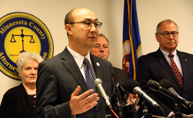 Ramsey County Attorney John Choi discusses lawsuits against opioid manufactures and distributors that are expected to be filed across Minnesota in the coming months at a news conference Thursday, Nov. 30, 2017 in St. Paul. Statewide, county attorneys are seeking damages and better oversight to combat the growing opioid crisis. (Christopher Magan / Pioneer Press)
