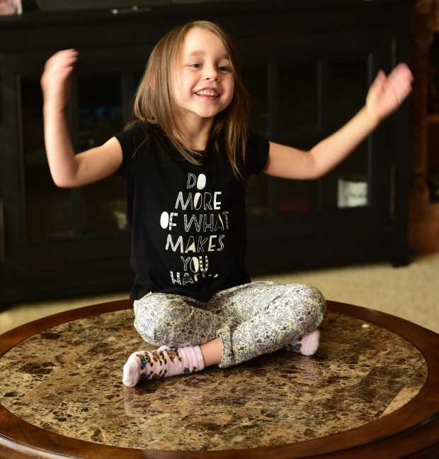 """Prewitt Anderson, 5, practices her part as Lulu in the upcoming musical """"Waitress"""" at the Opheum Theater, photographed in her Bayport home Nov. 13, 2017. (Scott Takushi / Pioneer Press)"""