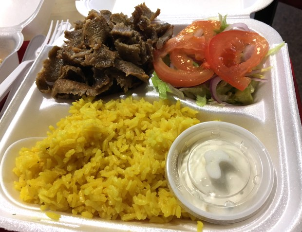 A gyro platter from Queen Cuisine Mediterranean in the St. Paul skyway. Photographed in October 2017. (Jess Fleming / Pioneer Press)