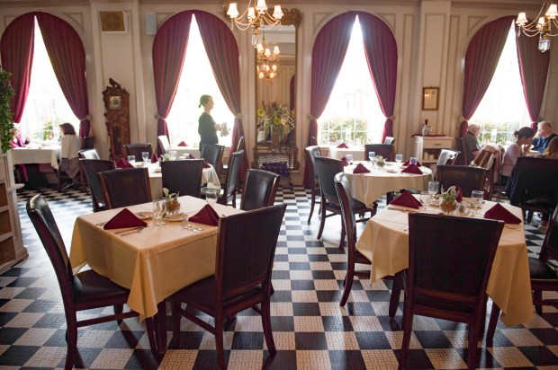 The Lowell Inn with its original black-and-white tiled floors, high-arched windows, chandeliers and antique furniture offers a great atmosphere for fine dining in Stillwater, Tuesday, Oct. 10, 2017. (Craig Lassig / Special to the Pioneer Press)
