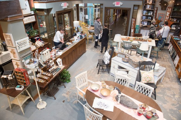 Mama's Happy offers repurposed and vintage furniture and gifts made by local artisans. Photographed Tuesday, Oct. 10, 2017. (Craig Lassig / Special to the Pioneer Press)
