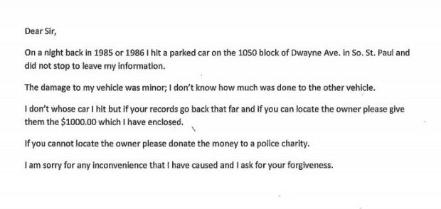 "South St. Paul Police Chief Bill Messerich received a letter in the mail Nov. 3, 2017, from someone asking for ""forgiveness"" for a 30-plus year hit-and-run crash and if he could track down the victim and give him or her $1,000, which was included in the letter. (Courtesy of South St. Paul police)"