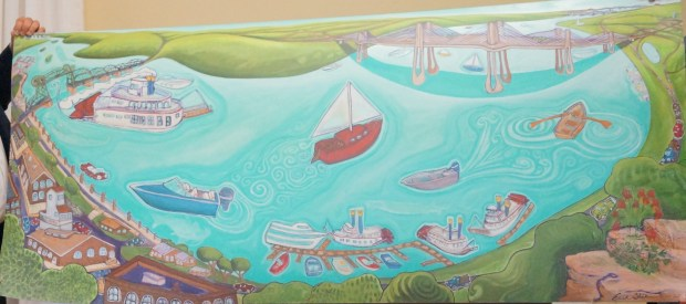 An oil painting by Stillwater artist Erik Sletten depicts the Stillwater Lift Bridge at left and the new St. Croix River bridge at right. (Courtesy of Yvonne Klinnert / Washington County)