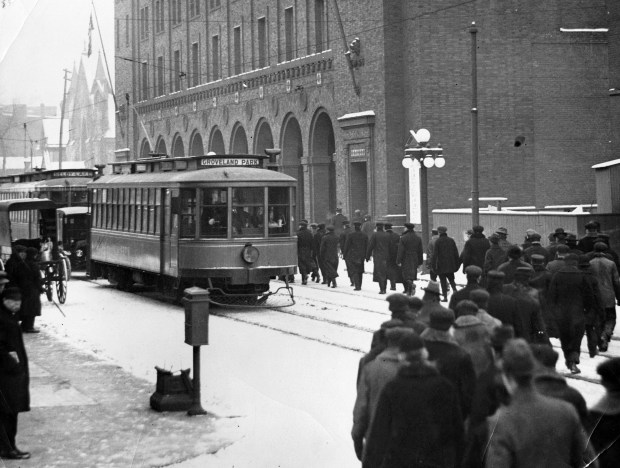Strking Twin City Rapid Transit workers picket the company's streetcars in downtown St. Paul in 1917. (courtesy Minnesota Historical Society)