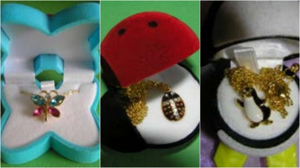 Minnesota state regulators on Wednesday< Nov. 22, 2017, reported finding children's jewelry products — a butterfly necklace, ladybug charm necklace and penguin charm necklace — containing toxic levels of cadmium. (Courtesy of the Minnesota Pollution Control Agency)