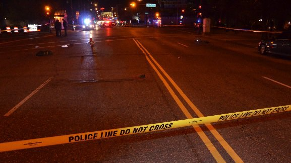 A man riding his bike through a green light at West Seventh Street and Grand Avenue shortly after midnight Sunday, Nov. 26, 2017, was injured when a driver ran a red light and struck him, St. Paul police say. (Courtesy of the St. Paul Police Department)