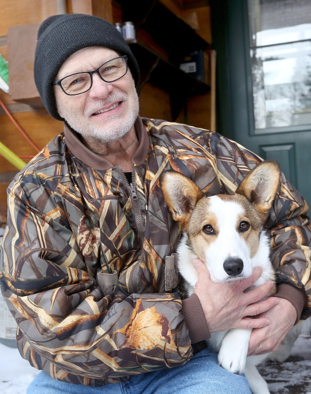 t12.20.17 Bob King -- 122117.N.DNT.BEARATTACKc10 -- William Vagts says he now has a special bond to his corgie Darla after she was attacked by the bear and he came to her rescue. Bob King / rking@duluthnews.com