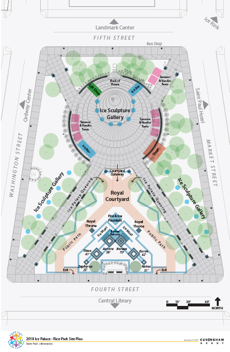 EMBARGOED UNTIL 1 PM CDT DEC. 21, 2017 -- Dec. 2017 courtesy image of the site plan for an ice palace that will be built in St. Paul's Rice Park as part of the 2018 St. Paul Winter Carnival. The palace will be part of an extended St. Paul Winter Carnival to be held January 25 – February 10, 2018 to connect with Super Bowl activities. (Courtesy of the St. Paul Winter Carnival)