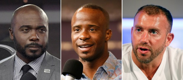 "At left, in an Oct. 5, 2017, photo, Marshall Faulk broadcasts from the field after an NFL football game against the Tampa Bay Buccaneers, in Tampa, Fla.  At center, in a Sept. 9, 2015, photo, NFL Network's Ike Taylor is interviewed during a media availability on set at the NFL Network studios, in Culver City, California. At right in a Sept. 9, 2015, photo, NFL Network's Heath Evans is interviewed during a media availability on set at the NFL Network studios, in Culver City, Calif. Hall of Fame player Marshall Faulk and two other NFL Network analysts have been suspended after a former employee alleged sexual misconduct in a lawsuit. NFL spokesman Brian McCarthy on Tuesday, Dec. 12, 2017,  identified the three as Faulk, Ike Taylor and Heath Evans. He says they have been ""suspended from their duties at NFL Network pending an investigation into these allegations."" (AP Photo/File)"