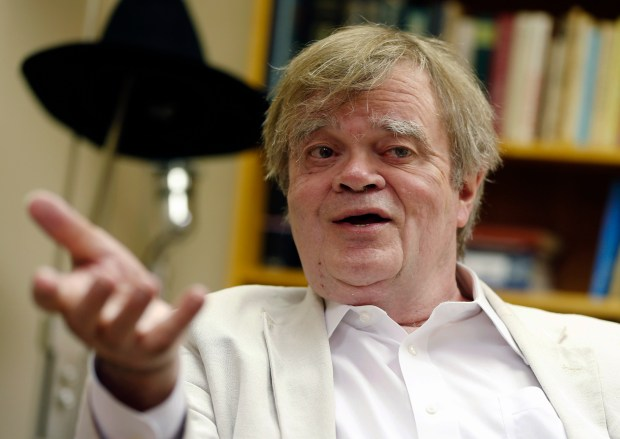 """In this July 20, 2015, photo, Garrison Keillor, creator and host of """"A Prairie Home Companion,"""" appears during an interview in St. Paul, Minn. Chris Thile who replaced Keillor as host of """"A Prairie Home Companion"""" said Saturday, Dec. 2, 2017, that the allegations against Keillor came as """"heartbreaking news."""" (AP Photo/Jim Mone)"""
