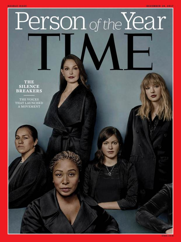 "This image provided by Time magazine shows the cover of the magazine's Person of the Year edition as ""The Silence Breakers,"" those who have shared their stories about sexual assault and harassment. The magazine's cover features Ashley Judd, Taylor Swift, Susan Fowler and others who say they have been harassed. (Time Magazine via AP)"