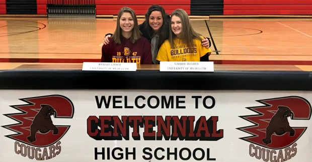 Undated courtesy photo, circa Dec. 2017, of Centennial girls hockey players Anneke Linser, left, and Gabbie Hughes, right. The two have committed to play college hockey at the University of Minnesota-Duluth. (Courtesy of Sue Linser)